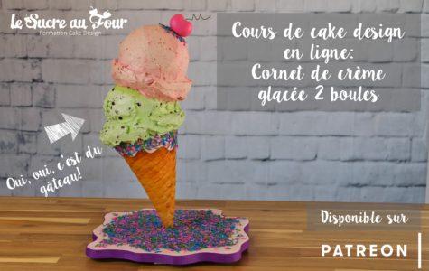 cours de cake design: cornet de crème glacée 2 boules