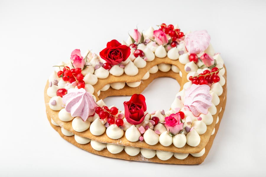 Number cake en forme de coeur pour le dessert de la Saint-Valentin